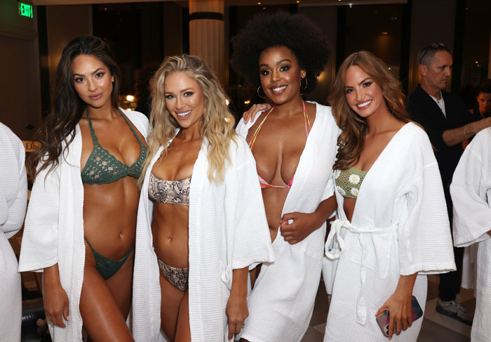 MIAMI, FLORIDA - JULY 10: Christen Harper, Kristen Louelle, Natalie Gage and Haley Kalil prepare backstage for 2021 Sports Illustrated Swimsuit Runway Show during Paraiso Miami Beach at Mondrian South Beach on July 10, 2021 in Miami, Florida. (Photo by Alexander Tamargo/Getty Images for Sports Illustrated)